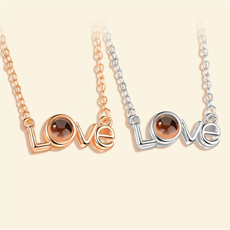 Rose Gold 100 Languages I Love You Projection Necklaces For Women LOVE Letter Pendants Memory Statement Jewelry