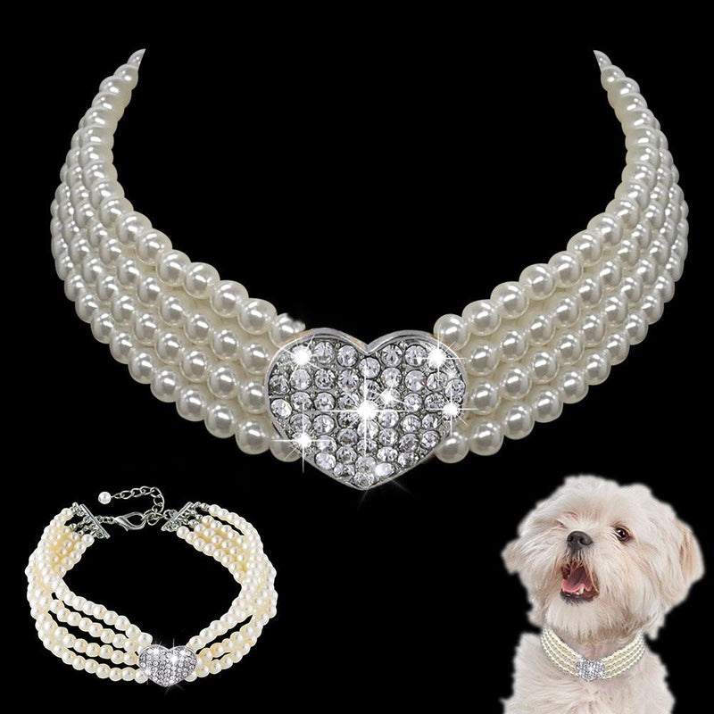 Pearl splice Rhinestone Dog collar pet Products Suitable for small-medium dog Pet accessories collier - EtsySales