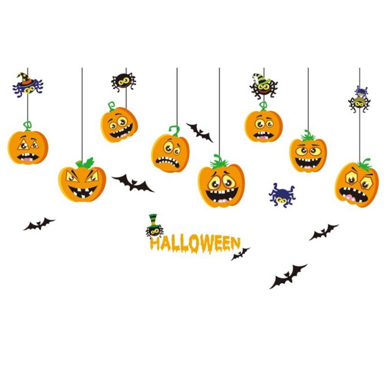 Lovely Pumpkin Wall Stickers Halloween Shop Glass Window Sticker Bedroom Removable Wall Decal Halloween Decor