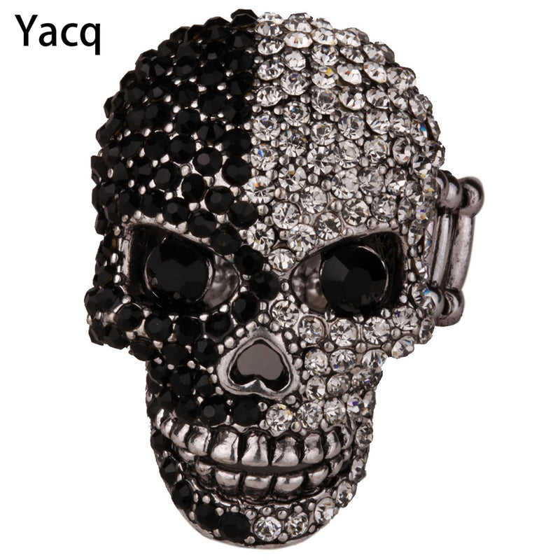 Skull Stretch Ring Women Girls Scarf Clasp Biker Gothic Jewelry Gifts for Her Wife Mom Gold Silver Color