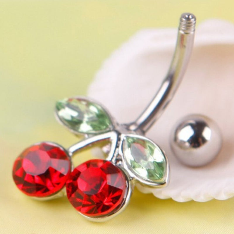Rhinestone Red Cherry Navel Barbell Belly Button Ring Body Piercing Hot Sale