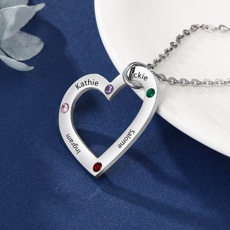 Personalized Necklace Stainless Steel Heart Pendant Engraved 4 names DIY Birthstones Custom Jewelry Anniversary Gift for Women