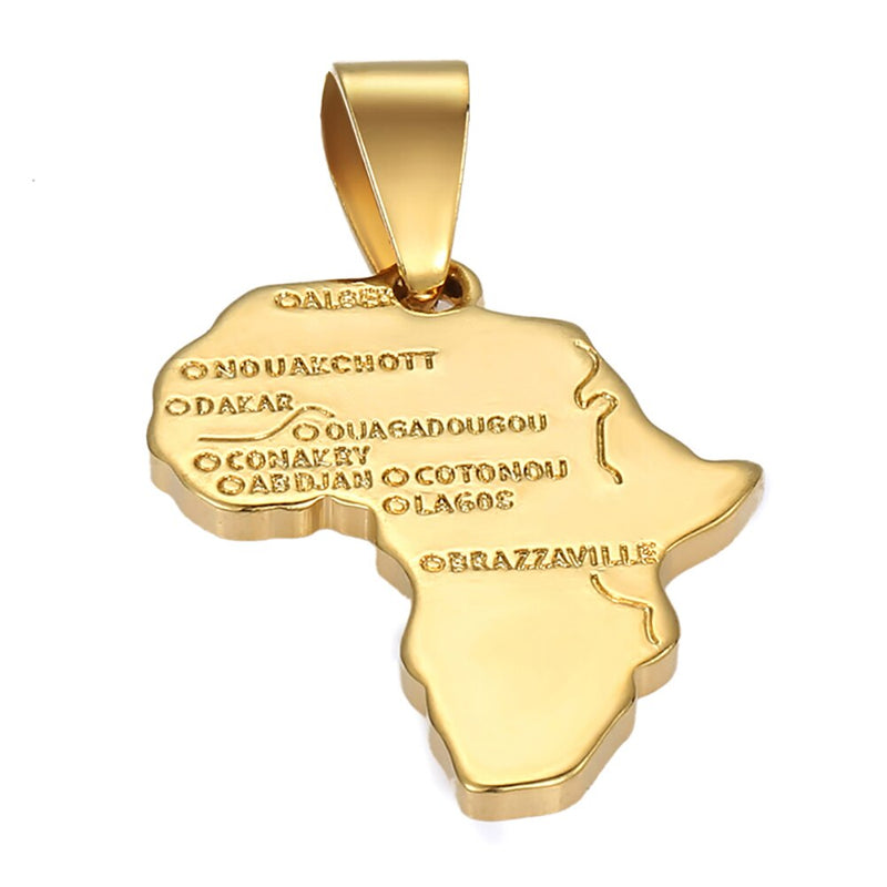 Men's Women's Africa Map Shape Pendant Yellow Gold Filled Pendant Necklace Box-Link Chain New Fashion Jewelry Gifts