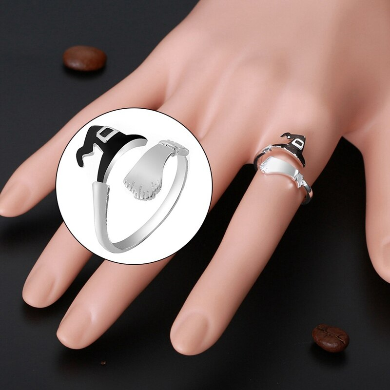 Fashion Cute Halloween Ghost Witch Broom Finger Ring Open Rings For Man Woman Party Cosplay Jewelry