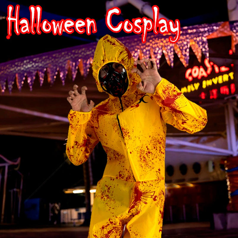 Halloween Scary Costumes Zombie Cosplay Costume With Face Shield Protective Clothing Overalls Halloween Protection Suit