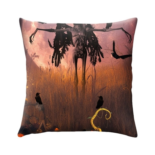 Halloween Cushion Cover Pumpkin Black Cat Crow