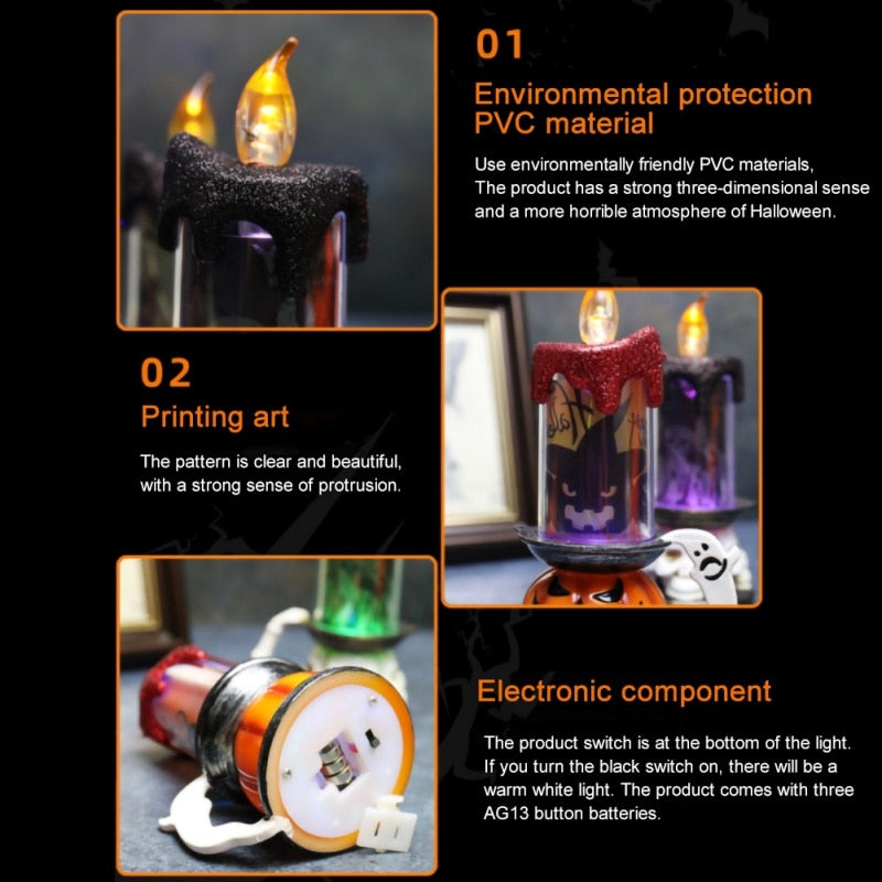 Halloween LED Lamp Glowing Skull Pumpkin Candle Light Desktop Night Lights For Home Party Bar Halloween Decoration Props [A3]