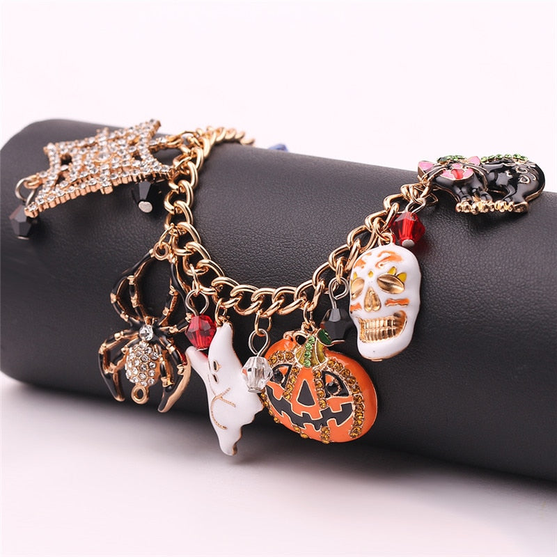 Halloween Bracelet Cat mask pumpkin ghost spider skull fashion accessories Holiday Gift Women's jewelry
