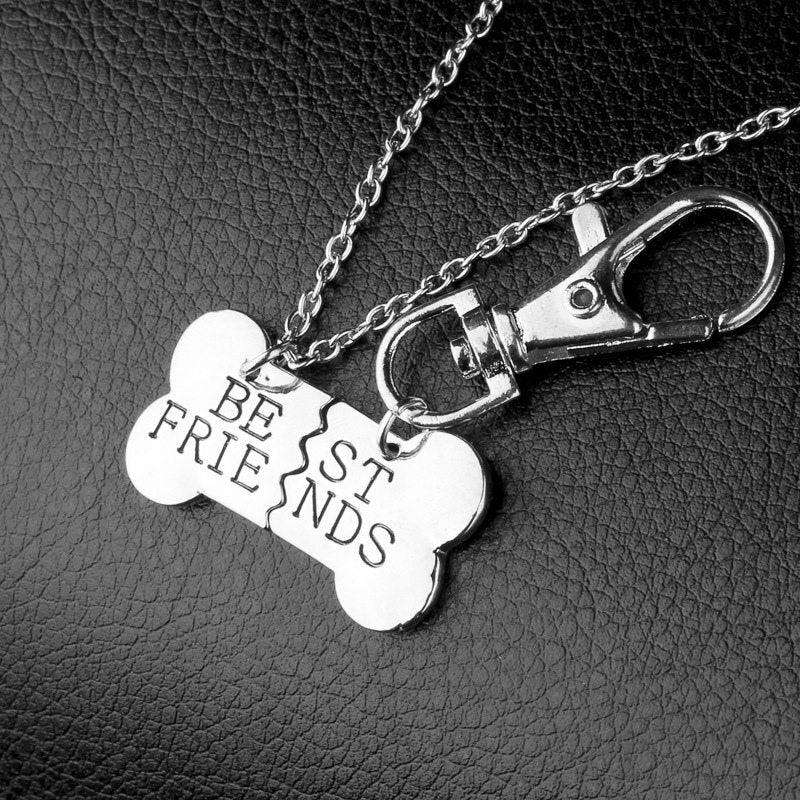 Fashion Dog Necklace Bone Shape Key Chain Best Friends Charm Dog Friendship Tag Collar Pendant Matching Gift