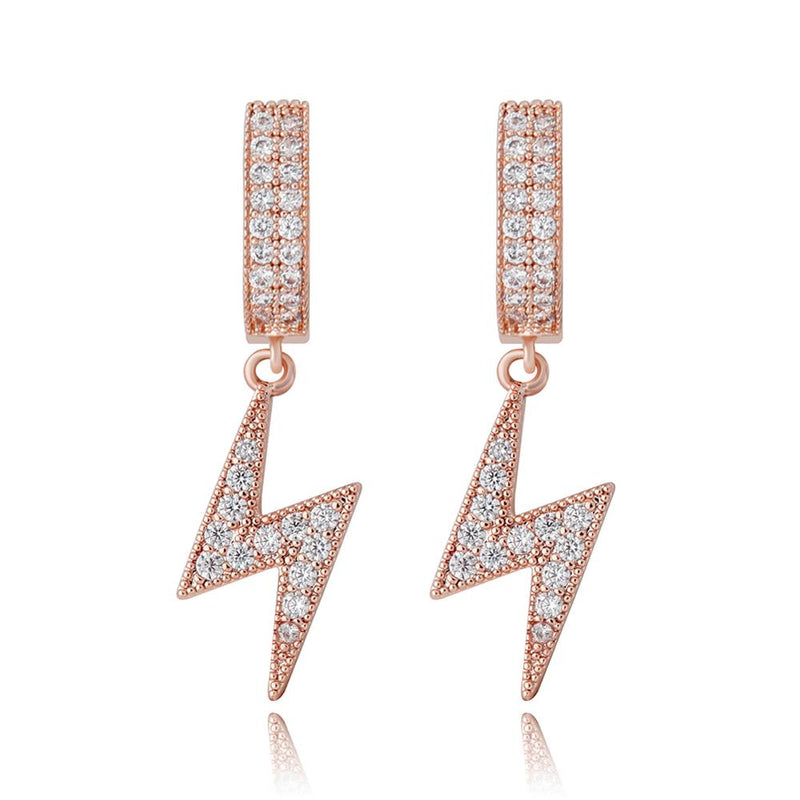 Minimalist Lightning Earrings Iced Cubic Zirconia Earrings Hip Hop Fashion Jewelry For Women