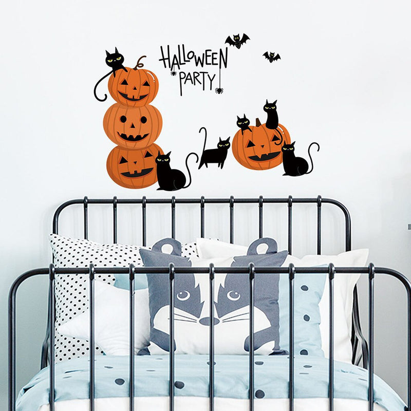 Happy Halloween Pumpkin Head Background Wall Sticker Home Window Decorations Wallpaper Sticker Decal Decor For Living Room