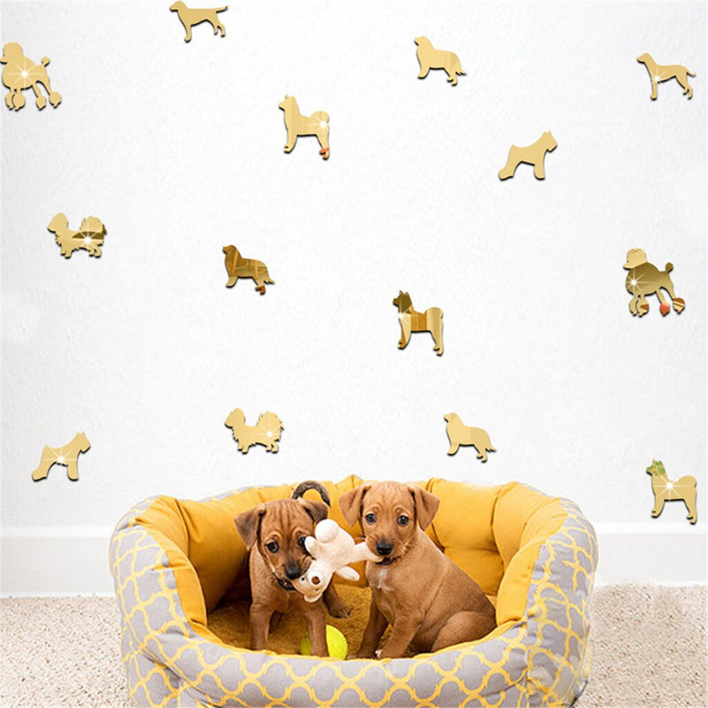 Mixed 3D Cartoon Dogs Acrylic Mirror Surface Wall Sticker For Kids Room Nursery Decoration Wallpaper 9pcs - EtsySales