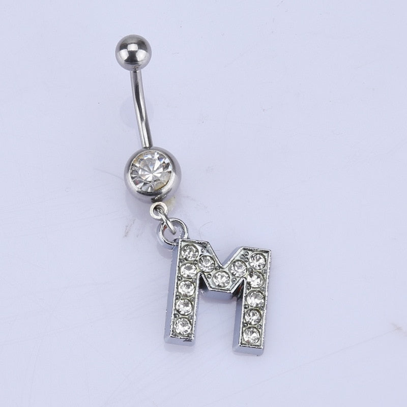 New 26 letter style Charming Body Piercing Crystal Rhinestone Inlaid Navel Belly Button Ring stainless steel jewelry