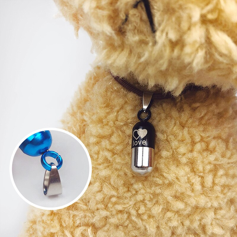 Anti-Lost Pet Identity Card Dog Cat ID Tags Silver Storage Capsule Address Label Tube Holder Identity Card ID Tags Collar