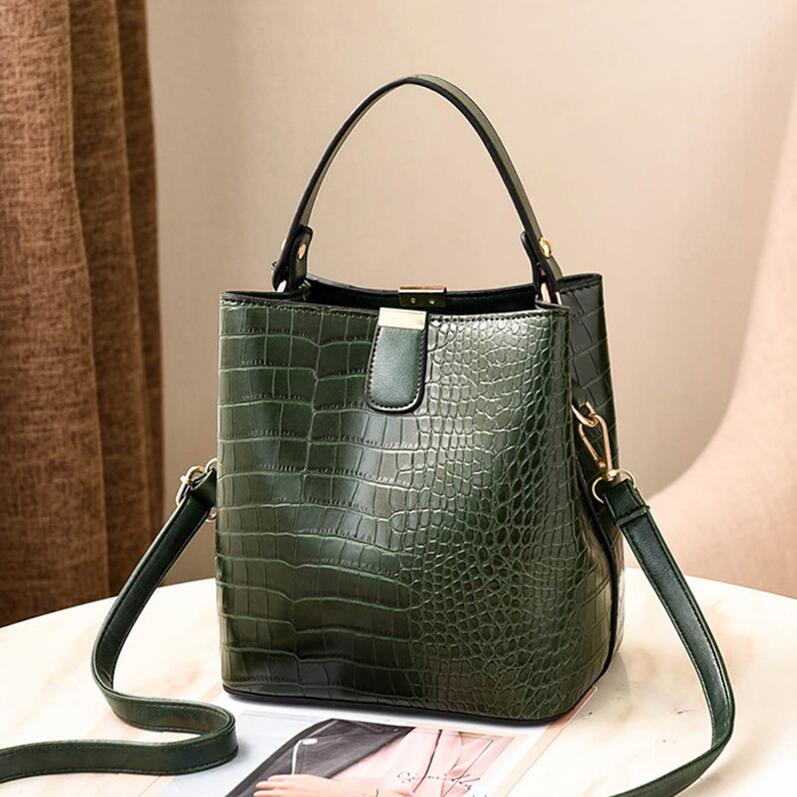 Retro Bucket Bags Women Pattern Handbag High Capacity Casual Crocodile Shoulder Messenger Bags Ladies PU Purse