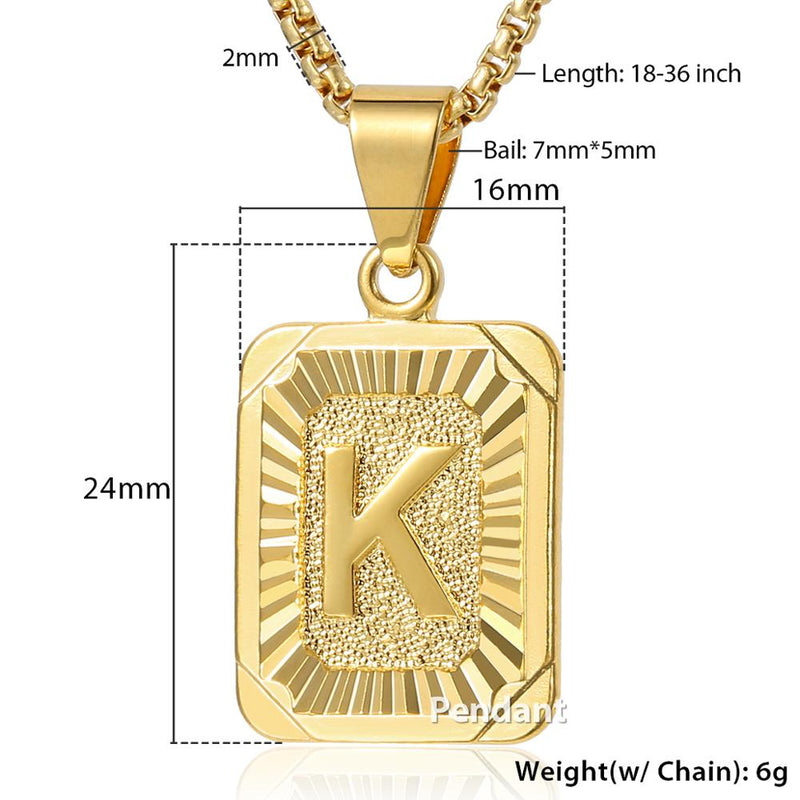 Initial Letter Pendant A-Z 26 Charm Yellow Gold Color Letter Necklace For Women Men Letter Name Jewelry Gift