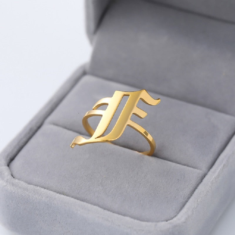 Personalized A-Z Initial Rings For Women Gothic Punk Jewelry Stainless Steel Alphabet Letter Couple Ring Gold Rose Gold