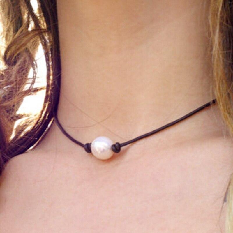 New Fashion Leather Necklace Black Cord Choker Neck Lace Multi-Storey Imitation Pearl Pendant - EtsySales