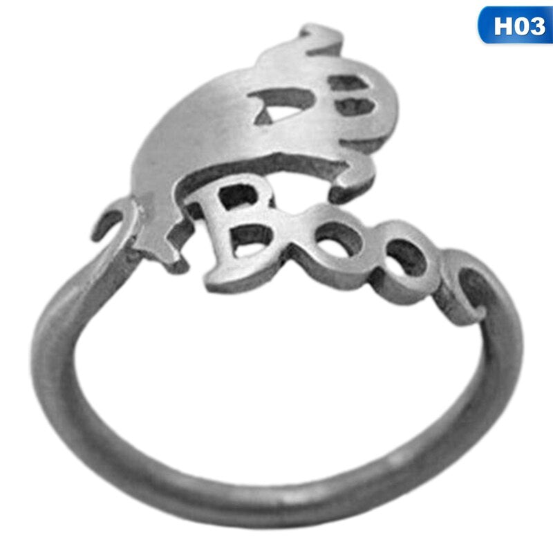 Cute Halloween Decoracion Jewelry Women Rings Witch Hats Broom Mop Pumpkin Lamp Alloy Finger Rings Hollow Out Men's Ring