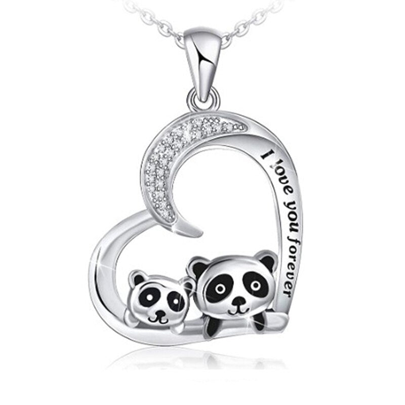Panda Pendant Necklace Heart Shape Jewelry For Mother Child Gift For Newborns Charm Chain Chokers For Family