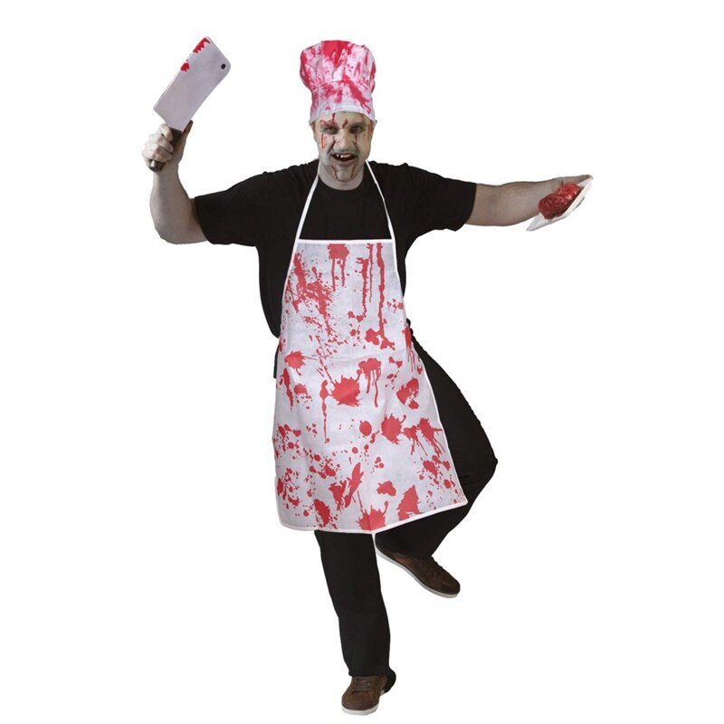 Halloween Bloody Butcher Costumes Scary Cooking Chef Apron Zombie Party Accessories Fancy Cosplay Costume Decorations
