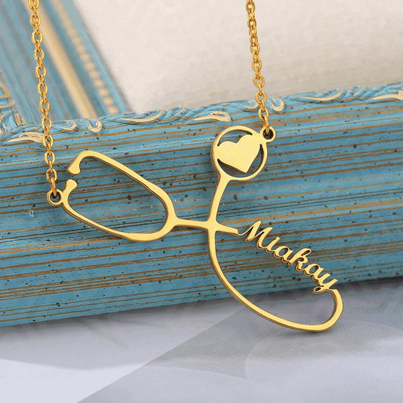 Personalized Stethoscope Name Necklaces For Women Nameplate Jewelry Stainless Steel Rose Gold Custom Letter Necklace Nurse Gift