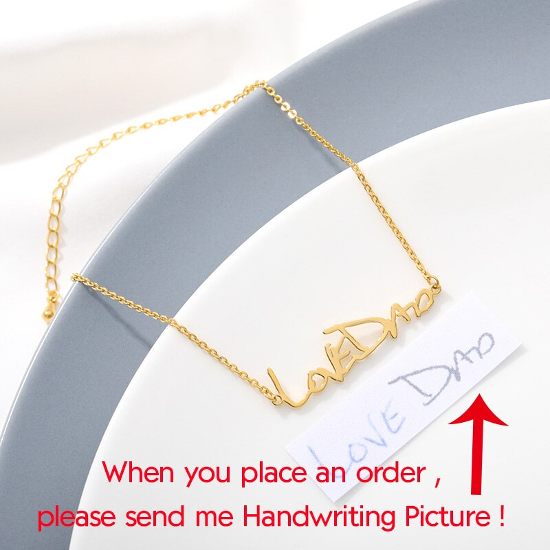 Handwriting Bracelet Charm Women Stainless Steel Name Bracelet Personalized Custom Jewelry Gifts