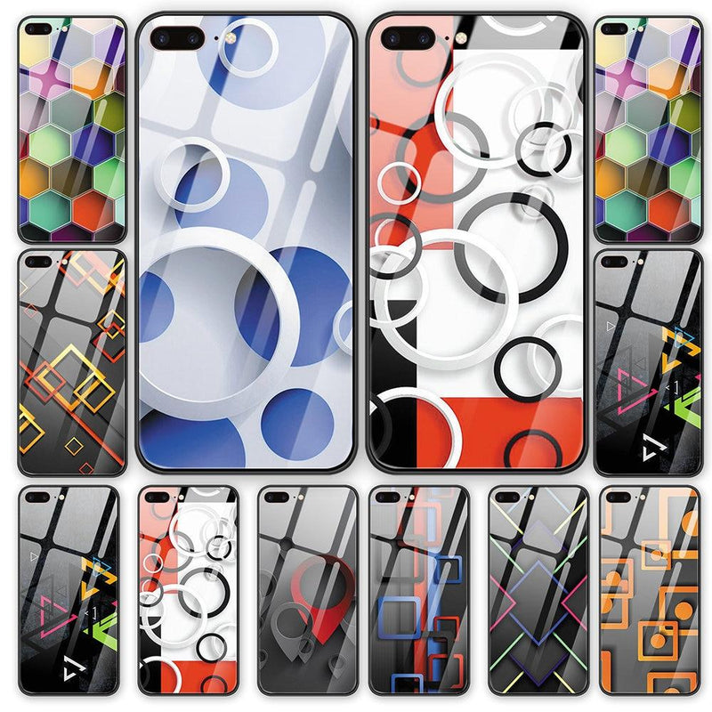 Abstract art geometric figures tempered glass cover phone case For iPhone - Phone Cases