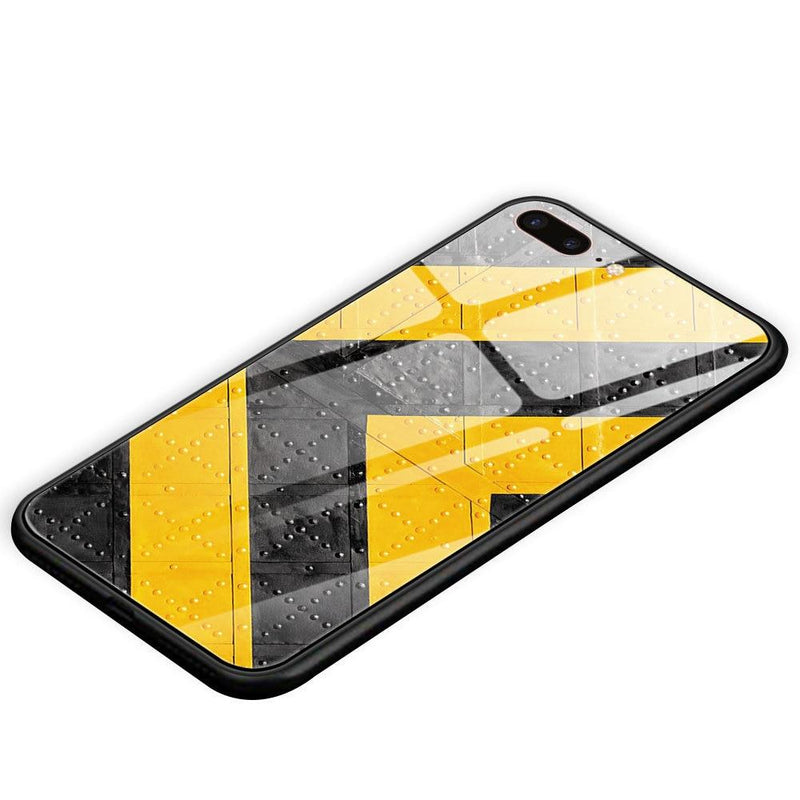 Abstract art geometric figures tempered glass cover phone case For iPhone [Yellow/Black] - Phone Cases