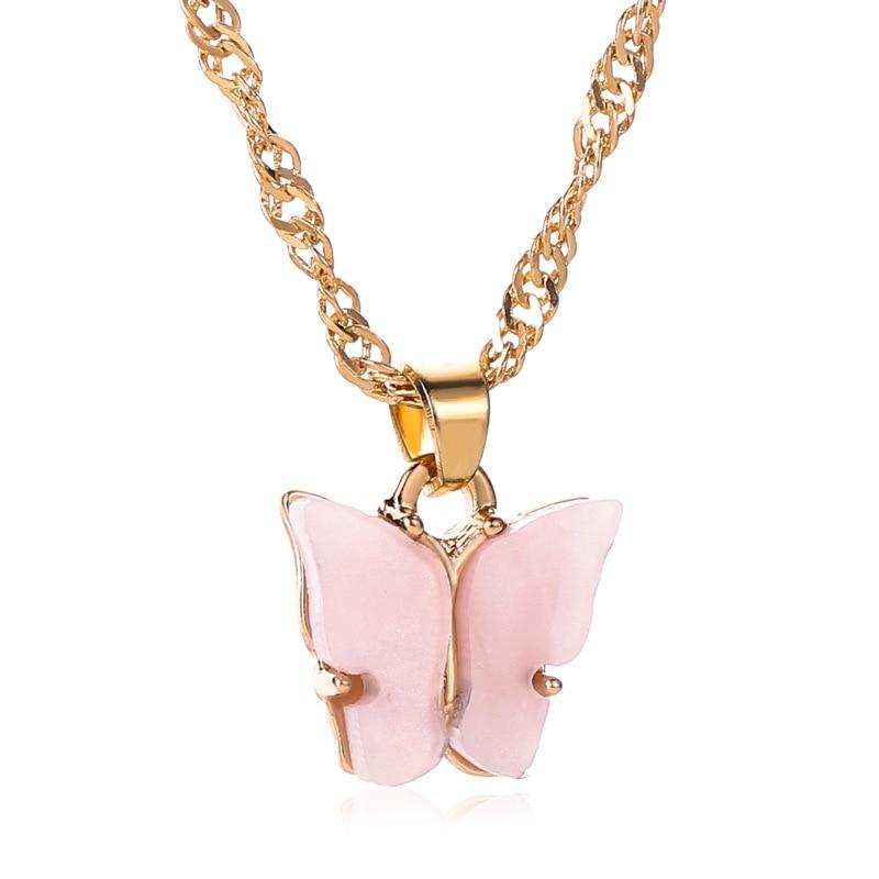 Acrylic Butterfly Necklaces for Women Birthday Gift Stainless Steel Chain Gold Choker Necklaces Pendants Femme Wedding Jewelry - Pendants