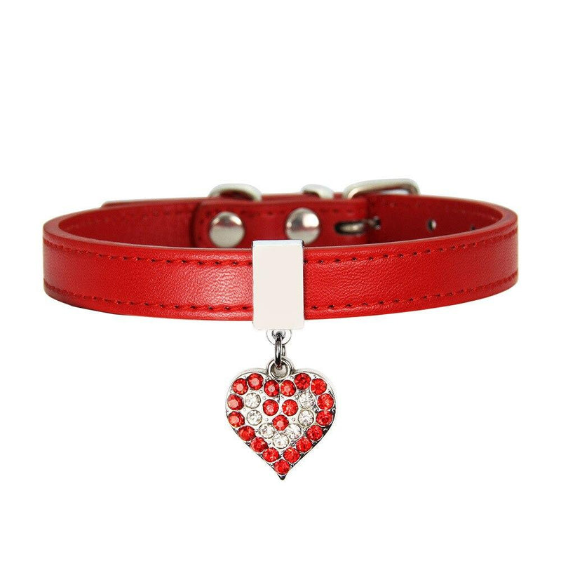 Adjustable Pet Dog Cat Collar Bling Love Heart Crystal Pendant Necklace Safety Soft Leather Puppy Neck Strap Personality Product - Pet Collars & Jewelry