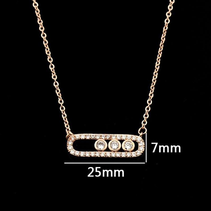 Arab Style Crystal Bead Pendant Necklace For Women Dainty Wedding Jewelry Stainless Steel Rose Gold 3 Dot On Oval Necklace Colar - Necklaces