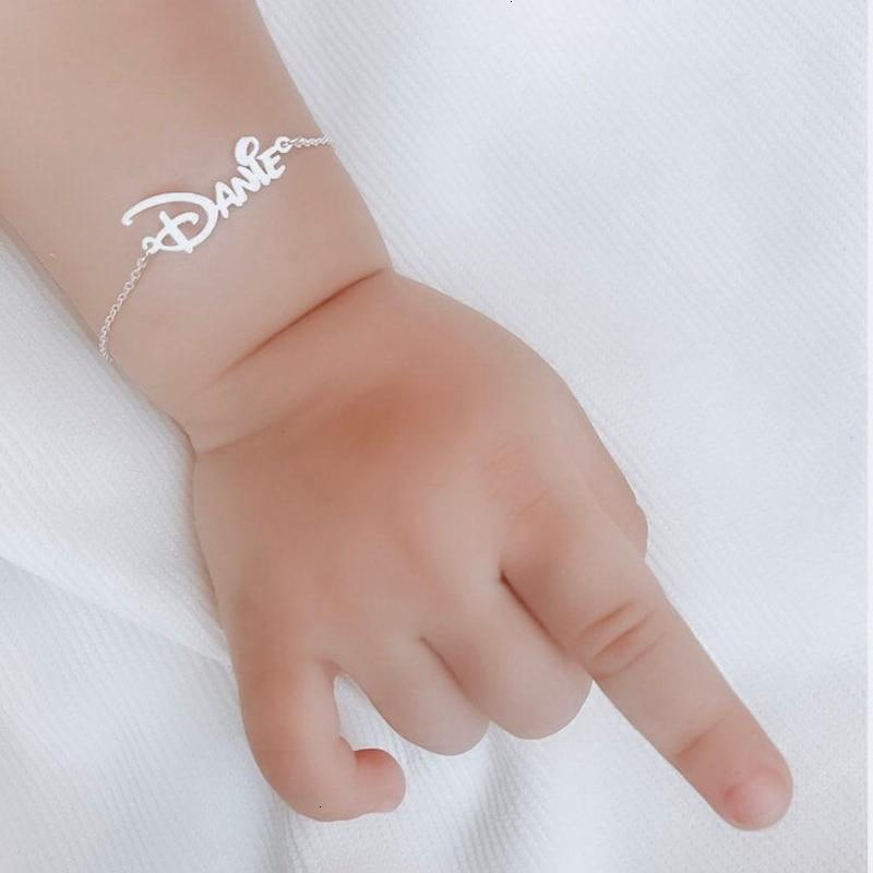 Baby Bracelet Stainless Steel Customized Name Bracelet Femme Custom Jewelry Personalized Nameplate Charm Bracelet For Child BFF - Name Bracelet
