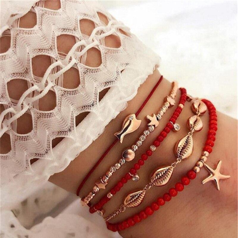 Bohemian Beaded Ankle Bracelets Set Multilayer Fish Shell Charm Red Theme Bracelets Women Anklet Foot Jewelry - Anklets