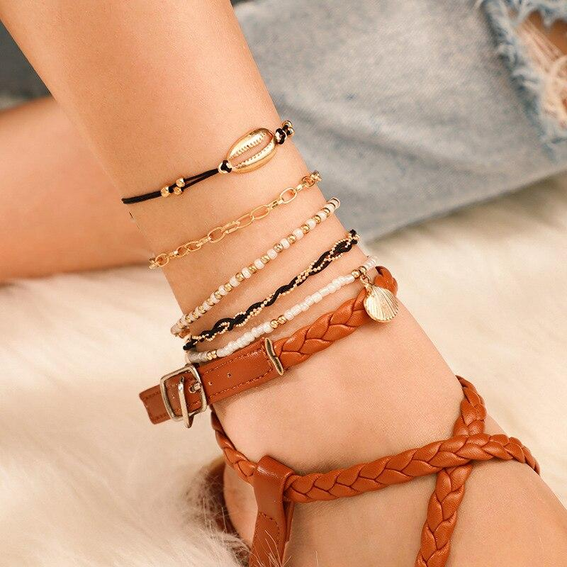 Bohemian Beaded Knit Ankle Bracelets Set Multilayer Shell Charm Chain Bracelets Women Anklet Foot Jewelry - Anklets