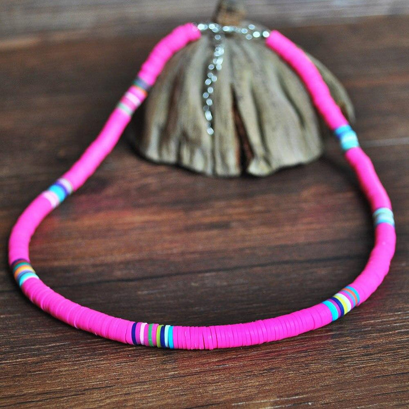 Boho Choker Necklace For Women Handmade Colorful Polymer Clay Beads Collier Necklaces Femme Jewelry - Beaded Necklaces