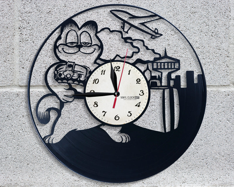 Children clock made of recycled vinyl record