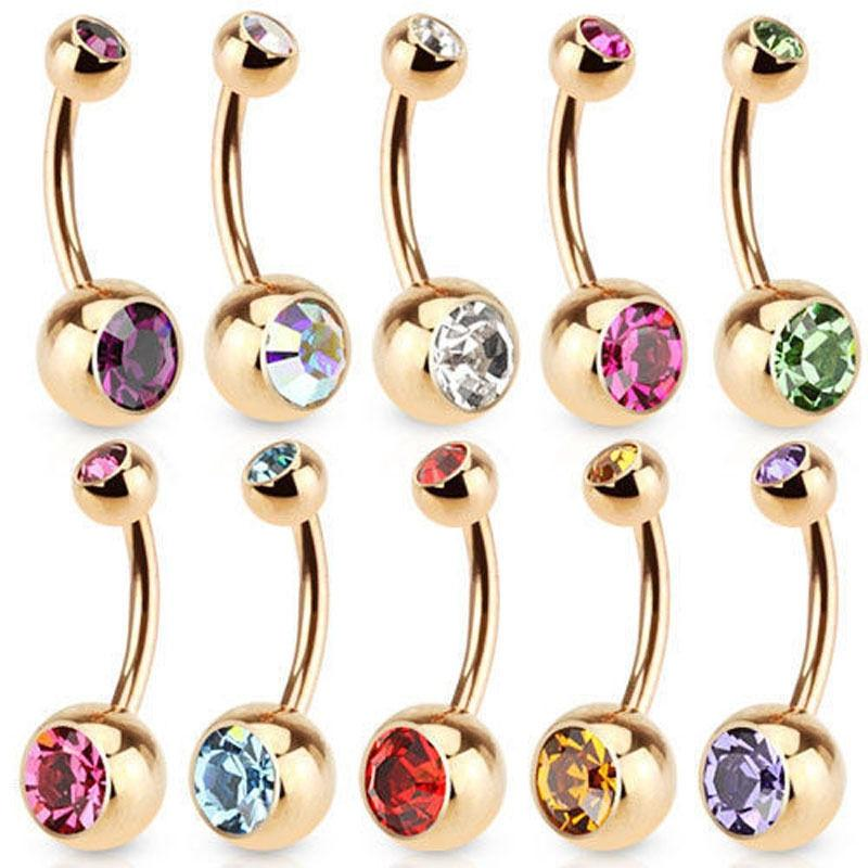 Charm Gold Color Belly Button Ring Rhinestones Cartilagem Navel Bar Crystal Body Piercing 9 Colors Punk Hot New Jewelry - Belly Rings