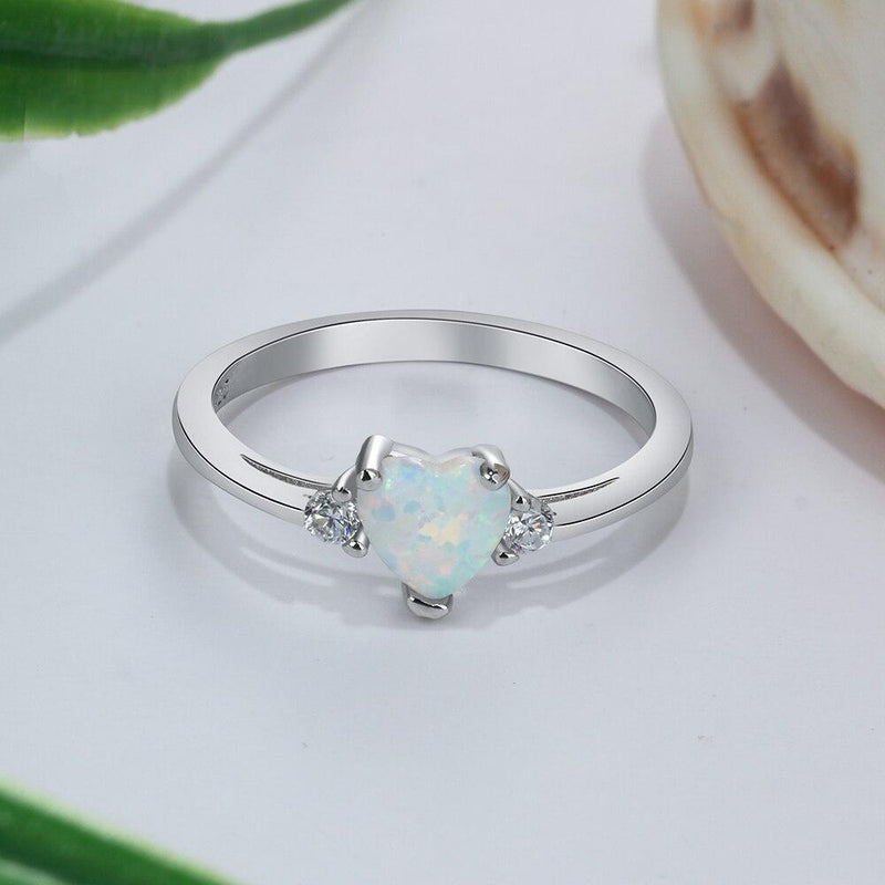 Classic Eternal Heart 925 Sterling Silver Rings for Women Blue Pink White Opal Ring Female Engagement Finger Ring - Rings