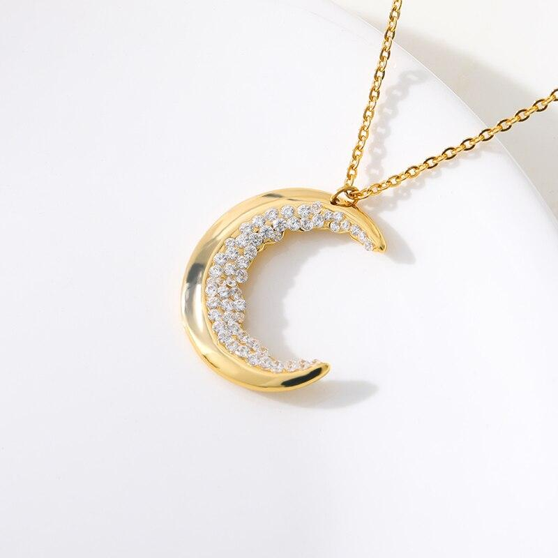 Crescent Moon Necklace Crystal Necklace Bohemia Jewelry Stainless Steel Women's Fashion Accessories Mujer Bridesmaid Gifts - Pendants