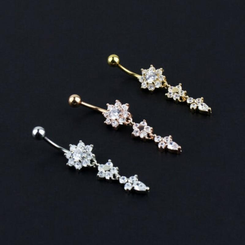 Crystal Body Rings Navel Jewelry Piercing Beauty Flower Bar Dangle Bar Belly Button - Belly Rings