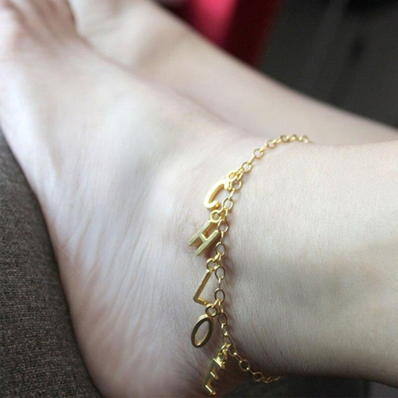 Custom Name Anklet for Women Gold Letter Stainless Steel Ankletes Anklets for Girl Anklet Bracelet Gold Anklet Bracelet - Anklets