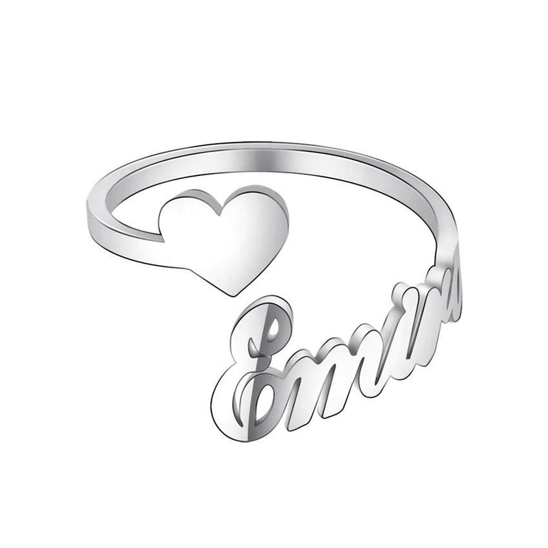 Custom Name Heart Rings For Women Gold Stainless Steel Personalized Jewelry Wedding Adjustable Anillos Mujer Graduation Gift - Statement Rings
