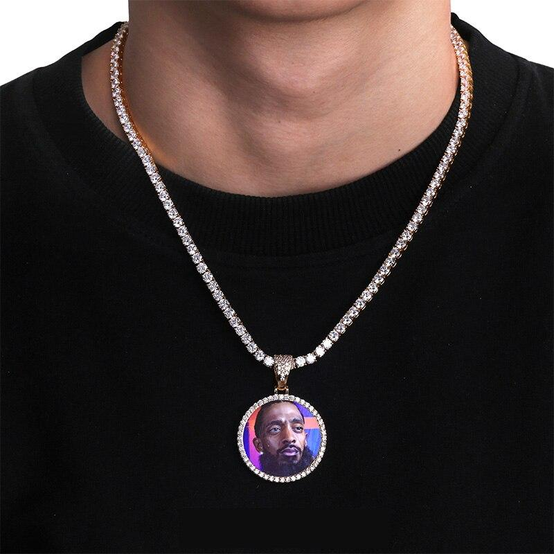 Custom Photo Memory Medallions Solid Pendant Necklace With Tennis Chai