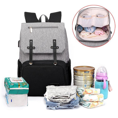 Diaper Bag Mummy Daddy Backpack Baby Stroller Bag Waterproof Oxford Handbag Nursing Nappy Kits Maternity Bag USB Warmer Holder - Diaper Bags