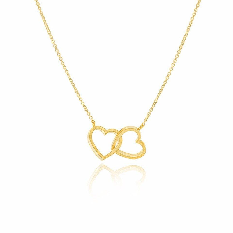 Double Heart Necklaces Pendants For Women Love Jewelry Bridesmaid Gifts Stainless Steel Link Chain - Pendants