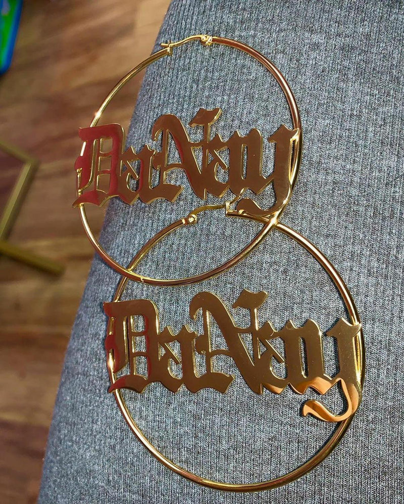Earrings for Women Hip Hop Earring Personalized Hoop Custom Earrings Gold Gift - Hoop Earrings
