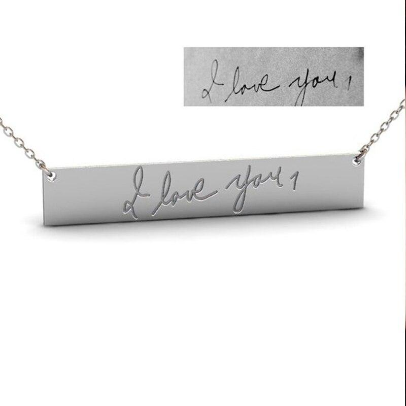 Fashion Custom Handwriting Signature Name Necklace For Women Long Bar Handmade Choker Chain Jewelry New Year Best Gifts - Monogram & Name Necklaces