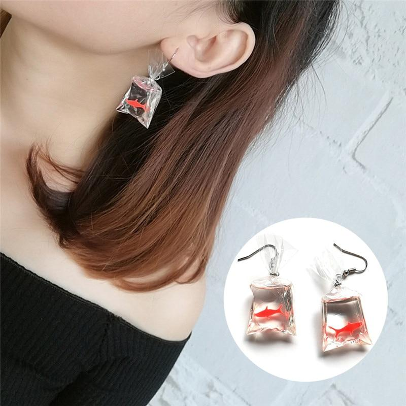 Fashion Design Acrylic Fish Crystal Pocket Drop Earrings Tassel Korean Edition Whimsy Exaggerated The Goldfish Earrings For Girl - Dangle & Drop Earrings