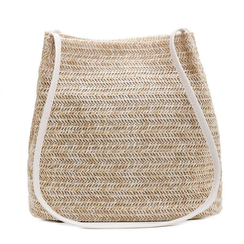 Fashion Simple Women Straw Bags Bohemian Beach Shoulder bags Wicker Females Crossbody Bags Rattan Handbag Casual Knitting Bags - Shoulder Bags